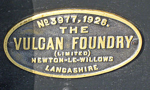 Vulcan Foundry - Vulcan Foundry works plate No. 3977 of 1926 on LMS Fowler Class 3F No. 47406 in 2012