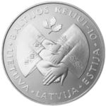Litas commemorative coin dedicated to the 10th anniversary of the Baltic Way
