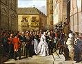 La reina Isabel II y su esposo, visitando el monumento de Jueves Santo en la iglesia de Santa María (Museo de Historia de Madrid).jpg