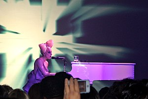 "Speechless (Lady Gaga song) - Gaga performing ""Speechless"" at the VEVO Launch Event in New York"