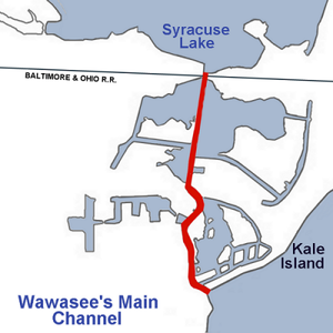Lake Wawasee - Location of the Main Channel