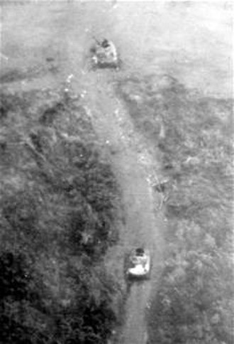 Battle of Lang Vei - Photograph taken by U.S. Air Force reconnaissance aircraft showing 2 destroyed PT-76 tanks in Lang Vei