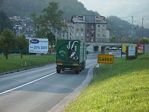 Laško Brewery - Laško truck near the entrance of town