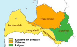 Courland - Historical regions of Latvia, together with Latvian cultural groups; Courland (Kurzeme) and Semigallia (Zemgale) in yellow