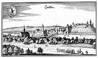 Lauffen am Neckar - Lauffen C 1640. Illustration by Matthäus Merian's Topographia Germaniae