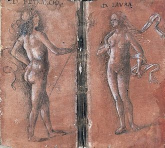 Petrarch's and Shakespeare's sonnets - Sketch of Petrarch and his Laura as Venus (ca. 1444)