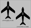 Lavochkin La-200 and La-200B top-view silhouettes.png