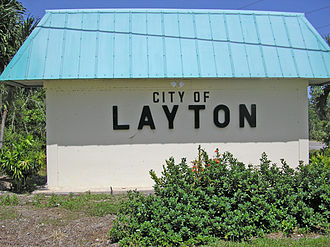 Layton, Florida - A sign indicating the border of the city of Layton