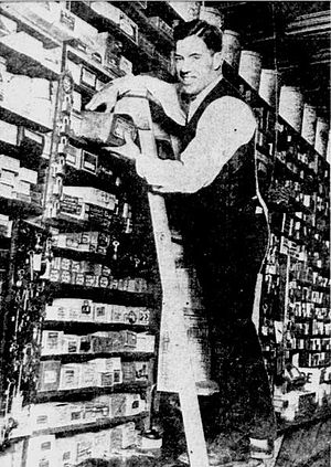 Leo Dixon - Leo Dixon pictured working at his father's hardware store.