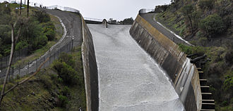 Lexington Reservoir - Lexington Reservoir Spillway/James J. Lenihan Dam, overflowing