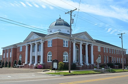 Liberty Baptist Church, a Southern Baptist church, the largest Protestant denomination in Mississippi, in Liberty (Amite County), Mississippi Liberty baptist church amite county ms.jpg