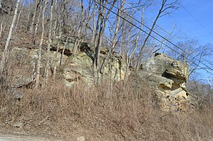 Perry Township, Lawrence County, Ohio - Outcrops of stone on Lick Creek Road