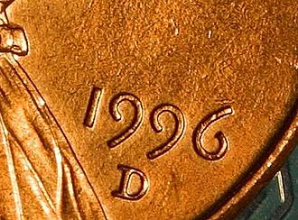 Text figures - The ascending six and descending nines are minted on this 1996 U.S. penny.