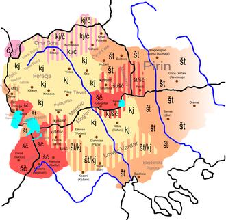 Macedonian alphabet - Map of the phoneme kj (Ќ) in the Macedonian language