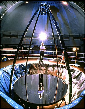 Liquid mirror telescope - A liquid mirror telescope. In this design, the optical sensors are mounted above the mirror, in a module at its focus, and the motor and bearings that turn the mirror are in the same module as the sensors. The mirror is suspended below.