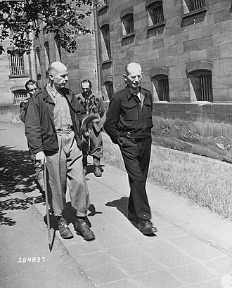 Wilhelm List - Wilhelm List (left) and Walter Kuntze (right) take a walk in the prison yard during the Hostage Case.