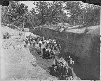 Wilburton, Oklahoma - Loading coal in the strip pits at a coal mine in Wilburton, 1898