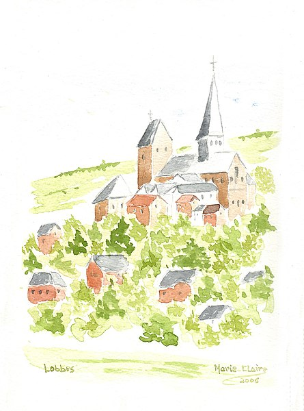 Lobbes (Belgium), the neighbourghood of the St. Ursmer collegiate church.
