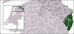 Map of the northern provinces of the Netherlands with an insert of the whole Netherlands