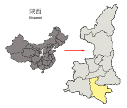 Location of Ankang City jurisdiction in Shaanxi
