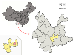 Location of Jiangchuan County (pink) and Yuxi Prefecture (yellow) within Yunnan province of China