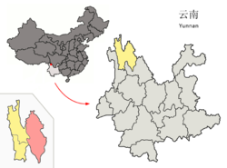 Location of Shangri-La County (pink) and Diqing Tibetan Autonomous Prefecture (yellow) within Yunnan