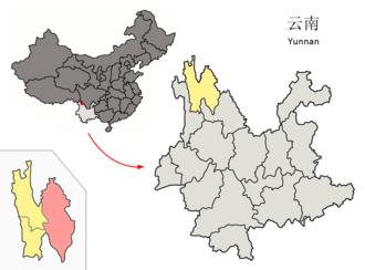 Shangri-La City - Image: Location of Shangri La within Yunnan (China)
