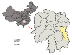 Location of Zhuzhou City jurisdiction in Hunan