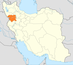 Map of Iran with Kurdistan highlighted