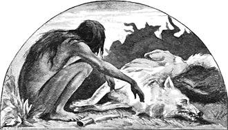 "Red Dog (Kipling short story) - Mowgli mourns Akela: illustration from ""Red Dog"" by John Lockwood Kipling, father of the author"
