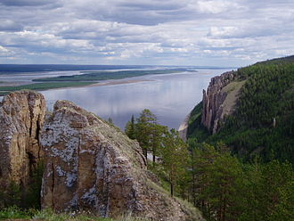 Lena River - The Lena Pillars along the river near Yakutsk