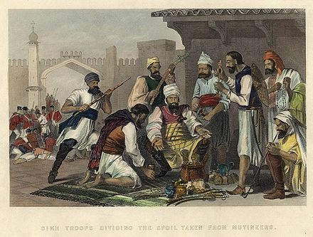 Sikh troops dividing the spoil taken from mutineers - Indian Rebellion of 1857