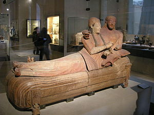 Italian art - The Etruscan Sarcophagus of the Spouses, terracotta, Cerveteri, 520BC