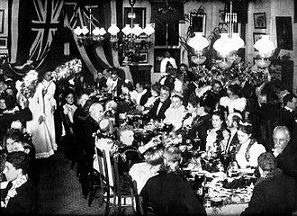 Luau - Princess Kaiulani's lūʻau banquet at ʻĀinahau for the U.S. Commissioners in 1898