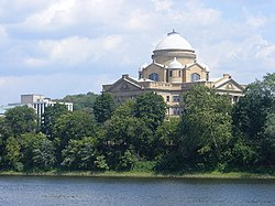 An image showing the large domed Luzerne County Courthouse in Wilkes-Barre as seen from across the Susquehanna River