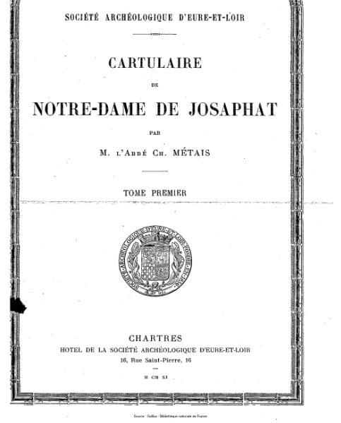 File:Métais - Cartulaire de Notre-Dame de Josaphat, tome 1.djvu