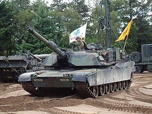 Combat Identification Panel - A CIP can be seen mounted on the side of this M1A1 Abrams' turret