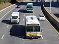 MBTA route 505 bus, Peter Pan bus, and The Ride bus on the Mass Pike, October 2016.JPG