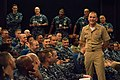 MCPON speaks with Sailors during an all hands call. (29647343030).jpg