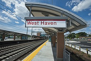 West Haven station - Signage at the station three weeks before opening