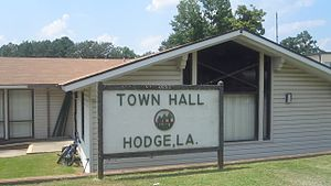 Hodge, Louisiana - Hodge Town Hall on U.S. Highway 167