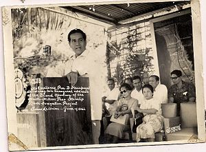 Tubao - President Diosdado Macapagal inaugurating the Masalip Dam Irrigation project in Tubao, La Union. June 17, 1962