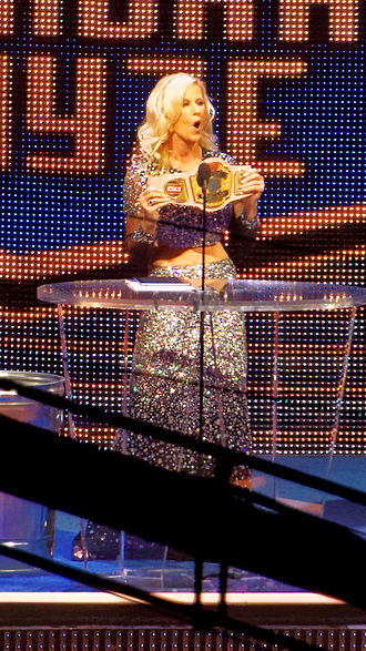 Madusa - Madusa with the WWF Women's Championship belt at the 2015 WWE Hall of Fame ceremony