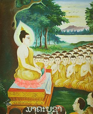 Magha Puja -  It was ten full months after Buddha got enlightenment, on the full-moon day of 6th lunar month, 45 years before the Buddhist era.