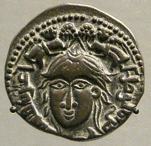Nasir ad-Din Mahmud - Coin of Mahmud II, mint of Mossul, depicting a female with two winged victories, 1223. British Museum.