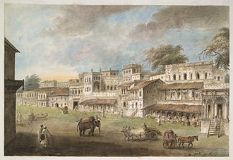 Patna - Main street of Patna, showing one side of the Chowk, 1814–15.