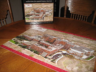 Maine Medical Center - A 2009-issued 550-piece jigsaw puzzle of Maine Medical Center commemorating the expansion of the hospital's emergency department
