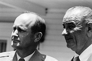 James U. Cross - Major James Cross and President Lyndon B. Johnson on the front lawn of the LBJ Ranch near Stonewall, Texas – LBJ Library photo by Frank Wolfe