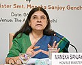 Maneka Sanjay Gandhi addressing a press conference on the initiatives and achievements of the Ministry of Women and Child Development during last four years, in New Delhi.JPG