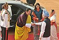 Manmohan Singh meeting the King of Bhutan, His Majesty Jigme Khesar Namgyel Wangchuck, at the Ceremonial Reception, at Rashtrapati Bhawan, in New Delhi. The Bhutan Queen, Her Majesty Jetsun Pema Wangchuck and the President.jpg